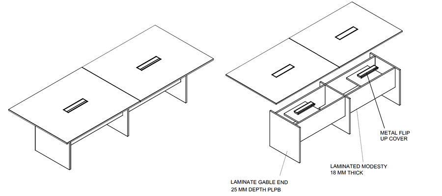 meeting laminate tables-kd fitting